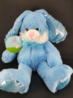 Easter Bunny Rabbit Blue Eyes Bow Shiny Ears Plush Stuffed A
