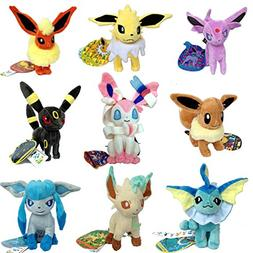 9 PCS Eeveelution Pokemon Sylveon Eevee Espeon Umbreon Jolte