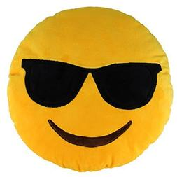 "13.8"" Emoji Cool Emoticon Round Cushion Pillow Stuffed Plush"