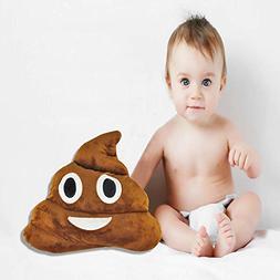 """Poop Emoji Pillow, 13.8"""" Large Poo Face Plush Emoticon Round"""