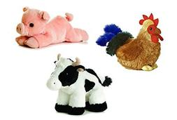 Aurora Farm Plush Animal Bundle Percy Pig Moo Cow Cocky Roos