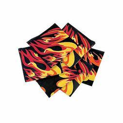 Flame Print Bandanas - Apparel Accessories - 12 Pieces