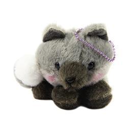Fox Charm Plushie Stuffed Animal Grey Silver Tail Fox Amuse