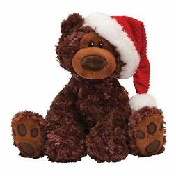 "Gund Fun Christmas Philbin Chocolate Bear 12"" Plush with San"