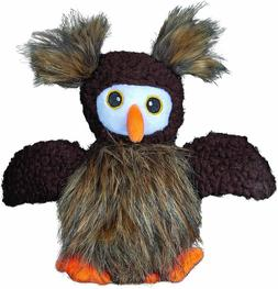 """Spunky Pup Furry Friends Fuzzy Owl With Ball Squeaker 8"""" Dog"""