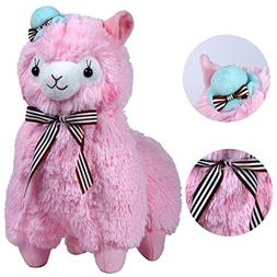 """KSB 20"""" Giant Huge Pink Plush Alpaca With Silk Scarf And Hat"""