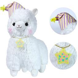 "KSB 20"" Giant Huge White Good Night Plush Alpaca With Locket"
