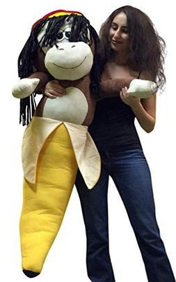 Giant Stuffed 4 Foot Rasta Monkey Banana 48 Inch Soft Huge B