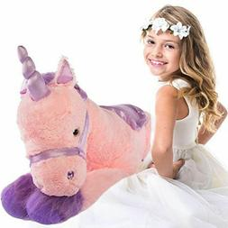 "Glitzy 39"" Jumbo Plush Pink Unicorn Giant Stuffed Animal T"