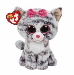 "Gray Cat 6"" Ty Beanie  Boos Puppy Glitter Big Eyes Plush Stu"