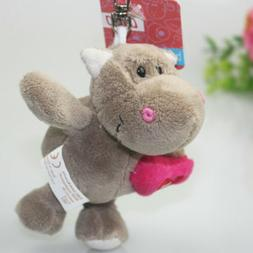 Gray hippo heart Stuffed Chain key chain stuffed animals key