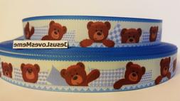 Grosgrain Ribbon, Brown Teddy Bears in Bed with Pillows, Stu