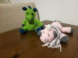 Hand Crochet Stuffed Animals - Green Dragon and Sleeping Uni