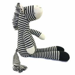 Hand Knitted Zebra Stuffed Animal Plush Toy 16 Inches Length