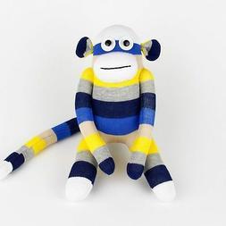 Handmade Blue Striped Sock Monkey Stuffed Animals Doll Boy B