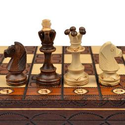 Handmade European Wooden Chess Set with 16 Inch Board and Ha