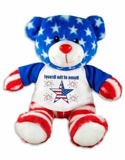 Home of the Brave Patriotic Teddy Bear Plush Message T-Shirt