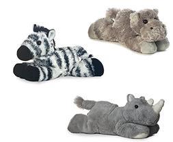 """Aurora Howard Hippo Zany Zebra Rhino Mini Flopsie 8"""" Bundle"""