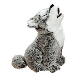 "Howling Grey Timber Wolf Plush Toy 12"" Stuffed Animal NEW"