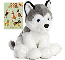 "Aurora World 14"" Husky Plush with Dog Sticker Book"