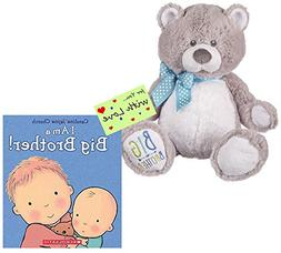 I Am a Big Brother Bear and Book Bundle with Gift Tag For Yo