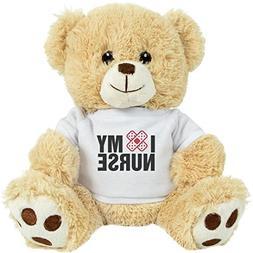Customized Girl I Love My Nurse: 8 Inch Teddy Bear Stuffed A
