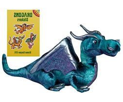 "Douglas Jade Blue Dragon 15"" Plush with Dragons Stickers Boo"