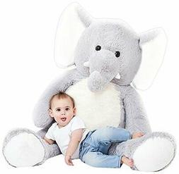 "Jumbo Plush Animal, Large, 49"" Elephant Stuffed Animal, Grey"