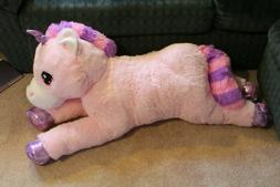 "JUMBO UNICORN PLUSH 42"" Pink and Purple Stuffed Animal Gift"