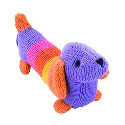 """Rich Frog K'NIT Squeak Doggy Dogs """"Violet"""" Stuffed Animal, H"""