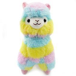 E-SCENERY Kawaii Rainbow Plush Alpaca, Cute Plush Stuffed An