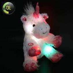 Kids Plush Unicorn Stuffed Animal Toy LED Light Up 12 Inch S