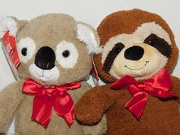 Koala Bear Raccoon Stuffed Plush Animals TWO 10.5 Inch Wild