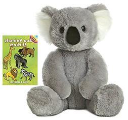 "Aurora World 14"" Koala Plush with Zoo Animals Sticker Book"