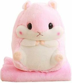 Kosbon 3 in 1 Cute Hamster Plush Stuffed Animal Toys Throw P