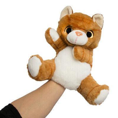 10 Inch Orange Tabby Cat Plush Stuffed Animal Hand Puppet by