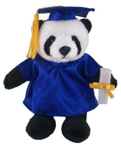 12 plush panda in personalized graduation outfit