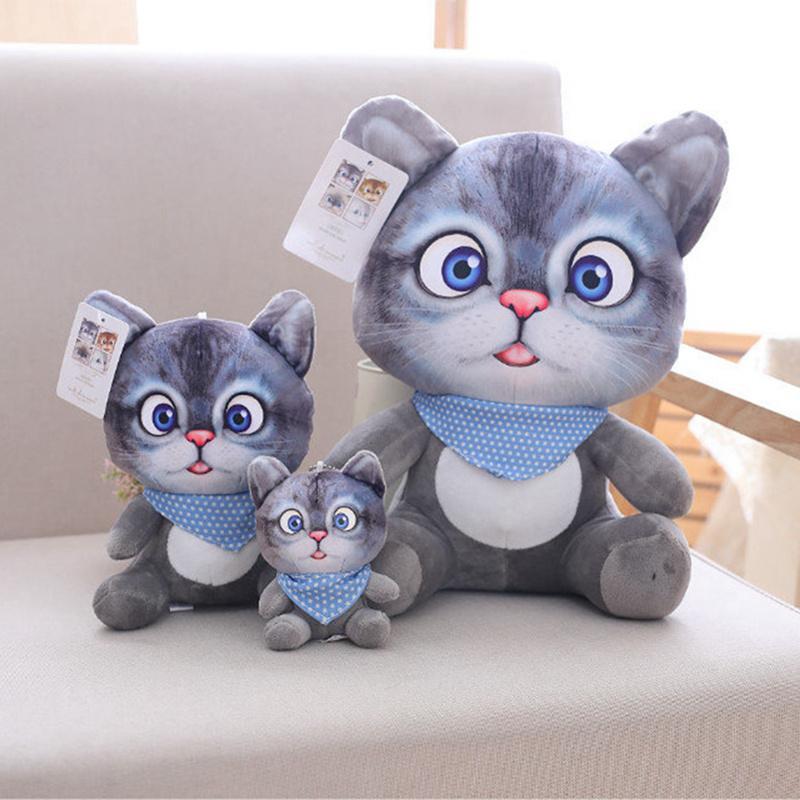 20cm 3D Simulation <font><b>Stuffed</b></font> Toys Double-side Seat Cushion Kawaii <font><b>Animal</b></font> Cat Dolls