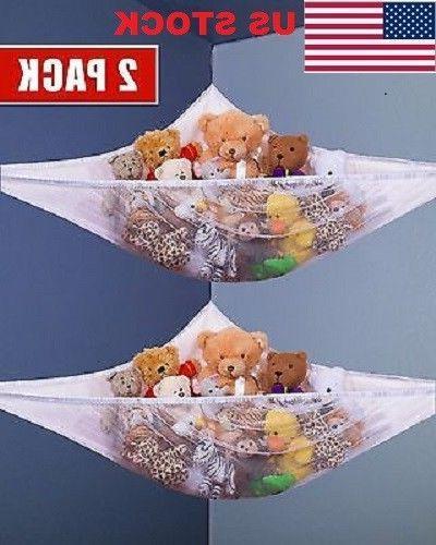 2x Mesh Toy Hammock Net Organizer Corner Stuffed Animals Kid