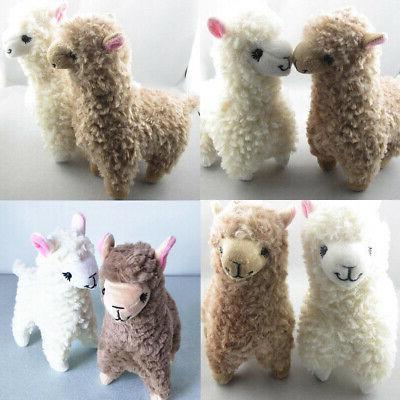2x cute kids alpaca plush toy 23cm