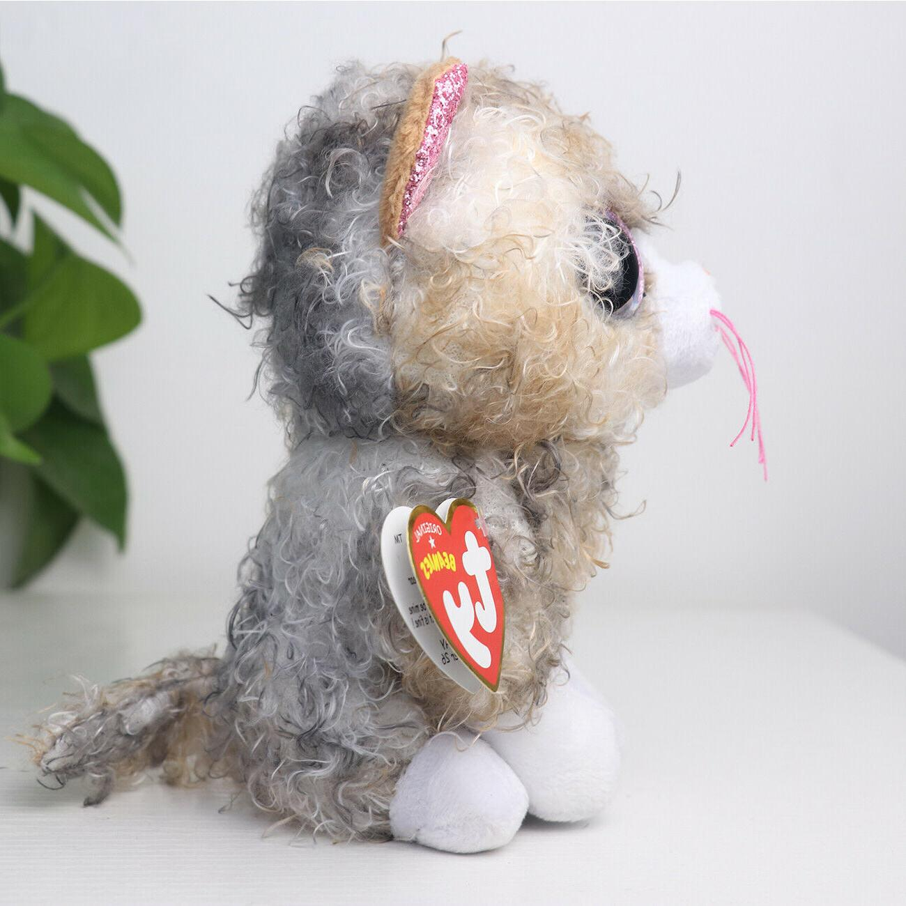 "6"" TY Glitter Plush Animals Toys Gray Curly Cat"