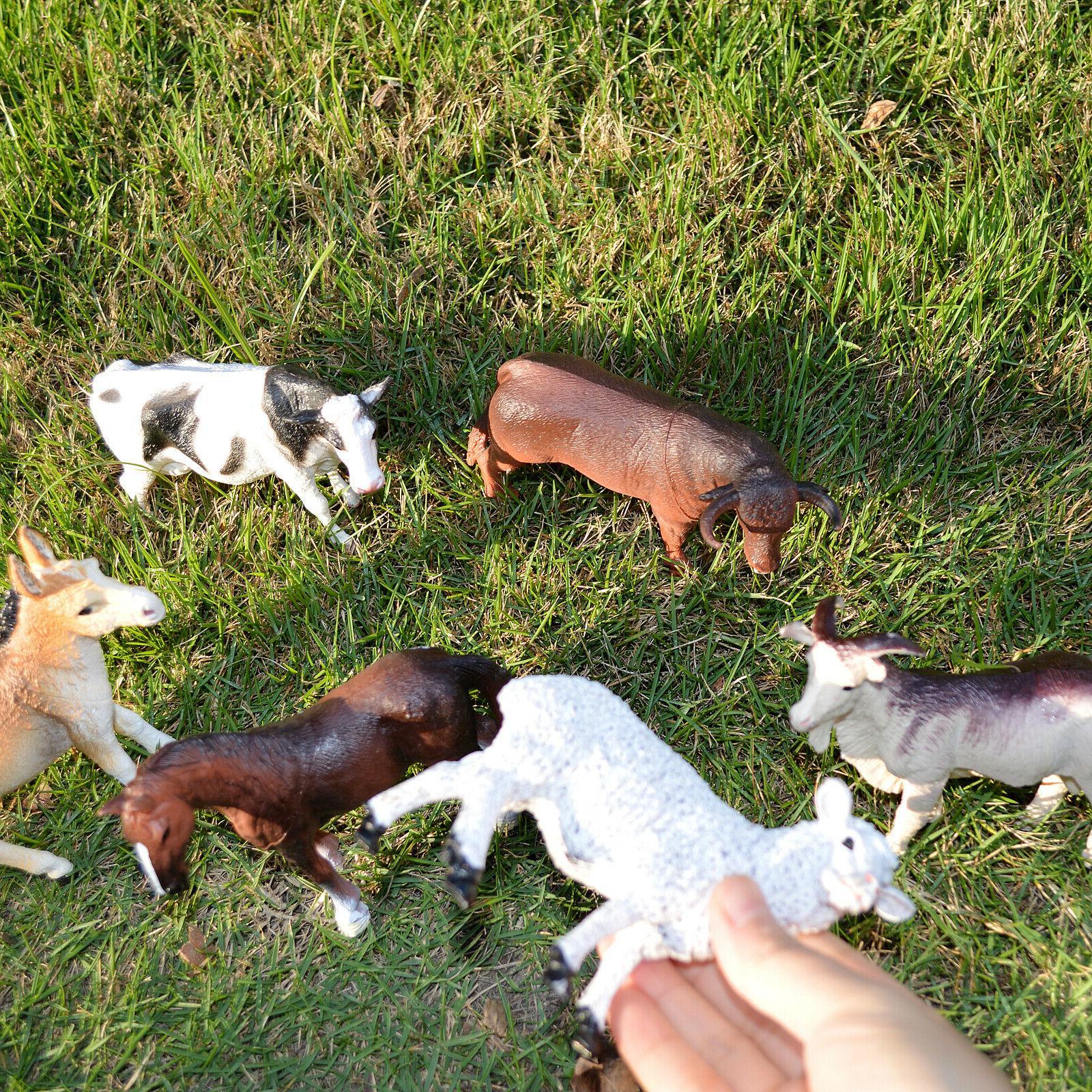 6 Educational Farm Animals Horse Donkey Cattle Sheep Goat