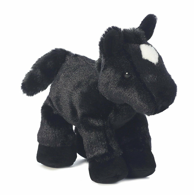 8 Mini Flopsie Black Horse Animal by Aurora Adoption Cert