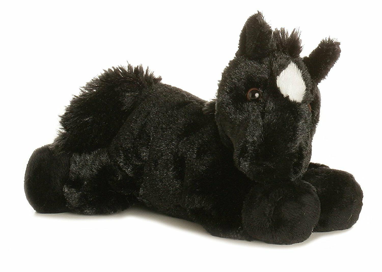 8 Mini Black Horse Plush Animal Aurora Adoption Cert