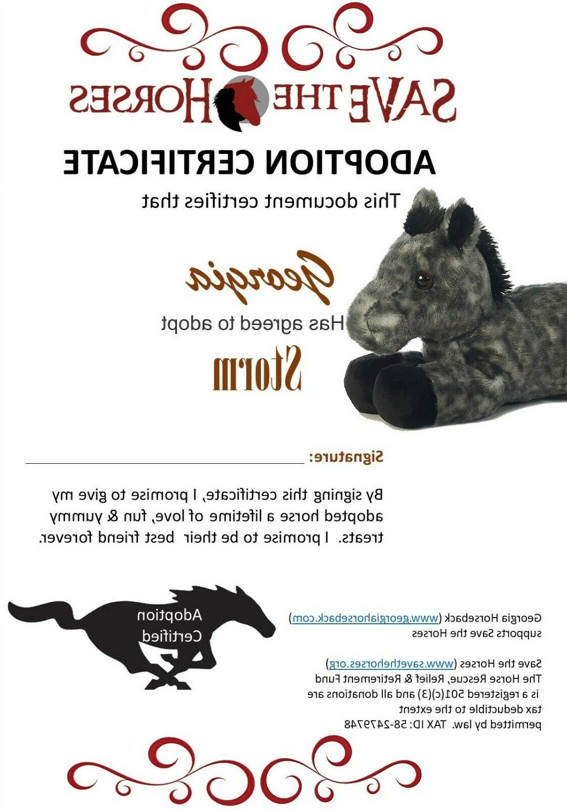 8 Grey Horse Animal by Adoption Cert