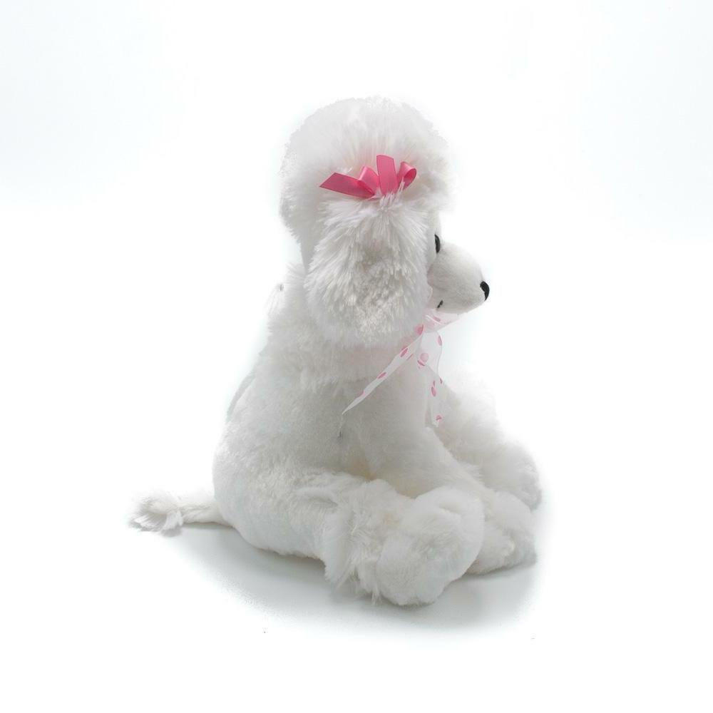 """9.5"""" Poodle White Stuffed with on Ears"""
