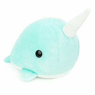 Bellzi Teal Narwhal Stuffed Animal Plush Toy - Adorable Plus