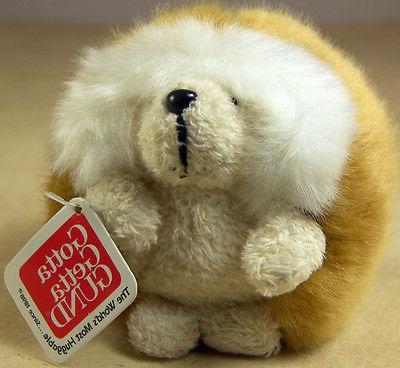 """GUND Plush Hedgehog GANLEY 3"""" Soft Dark Brown & Cream Stuffe"""
