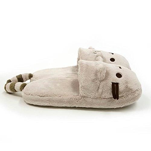 """GUND Pusheen Cat Stuffed Animal Slippers, Gray, 12"""""""