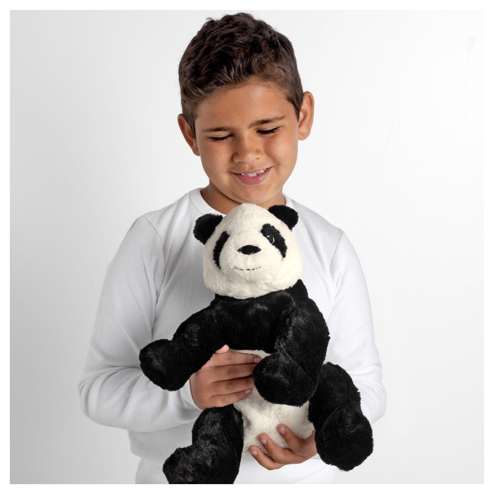 "IKEA Panda Bear 12"" Stuffed Animal Kid Soft Toy White Black"